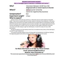 Looking For Participants With Autism For A PAID Research Study!