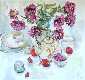 Original Art Painting Framed Modern Still Life Floral