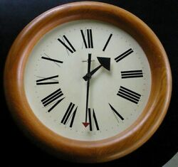 Vintage Mid Century Modern Howard Miller Oak Wall Clock Red Arrow Hand Model 611