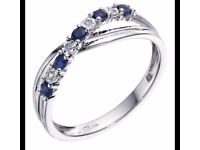 AS NEW white gold 9ct crossover eternity/engaement ring sapphires and diamonds H Samuel size J