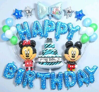 Disney Mickey & Minnie Mouse Luftballon Set 33 tlg. Geburtstag Dekoration Blau