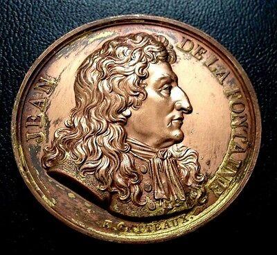 Fontaine Bronze - 1816 France 42 MM / Jean De La Fontaine / Bronze Medal / M 91