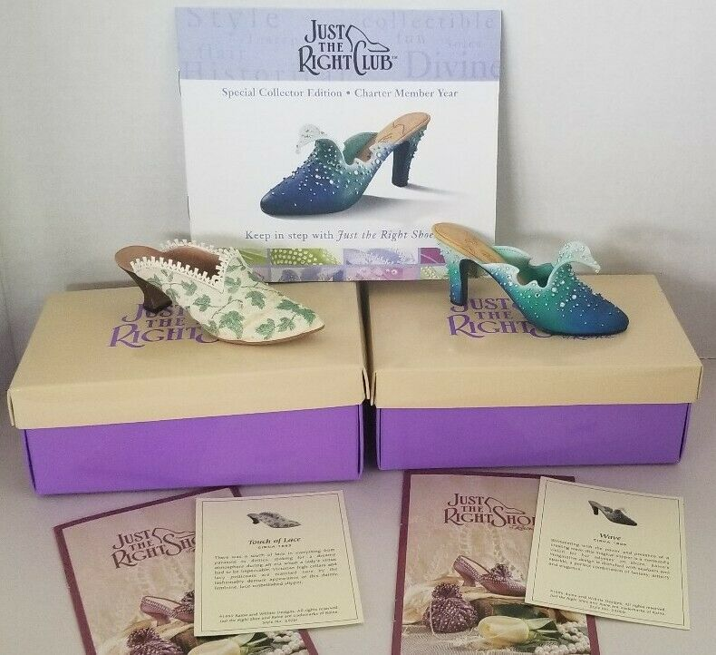 """Lot of 2 Just The Right Club Shoes """"Wave"""" & """"Touch Of Lace"""" MIB W/ COA"""