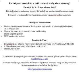 Participants needed for a paid research study about memory!
