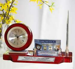 Desk Clock Business Card Holder Case Display Silver Pen Wood Desktop Gift Awards