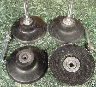 """Two new 3 inch ROLL LOCK HOLDER / MANDREL Roloc Disc Pad MADE IN USA 1/4"""""""