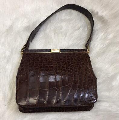 1940s Handbags and Purses History Vintage 1940s Bellestone Brown Crocodile / Alligator Leather Purse Handbag $69.00 AT vintagedancer.com