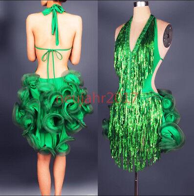 Damen Quaste V-Ausschnitt Rückenfreies Kostüm Latin Dance Dress Salsa Tango (Latin Dance Kostüm Kleider)