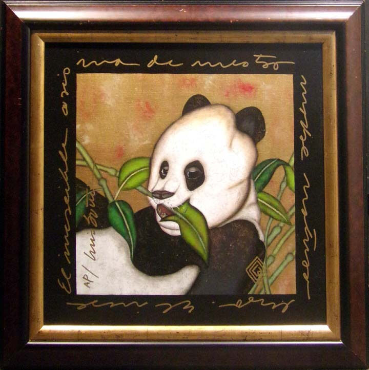 "Luis Sottil ""charismab"" Panda Hand Signed Art Canvas Custom Framed Make An Offer"
