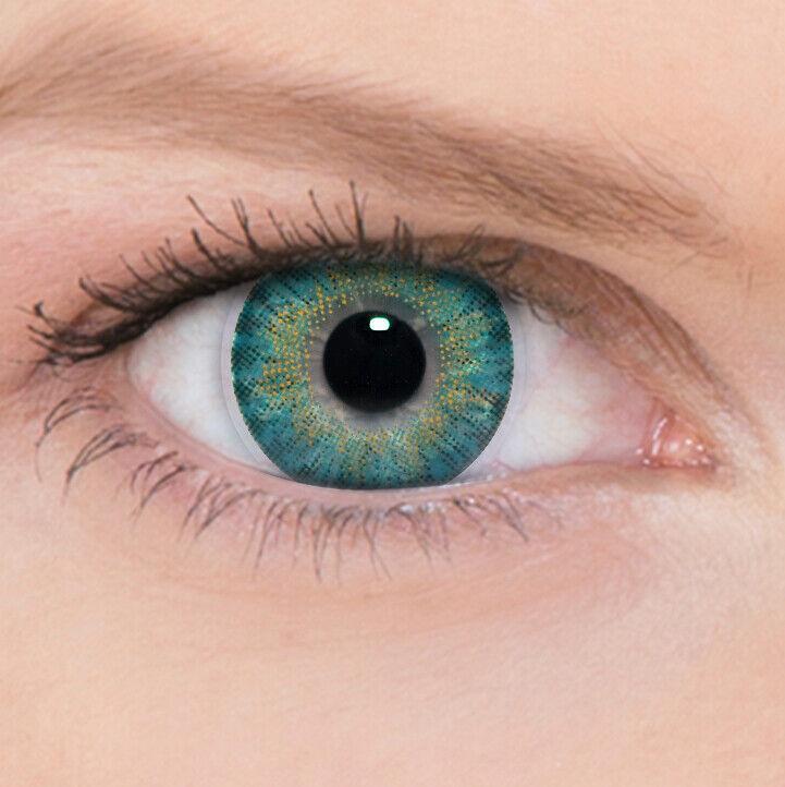 Türkise Farbige Kontaktlinsen Turquoise ohne und mit Stärke 3Tones + Behälter