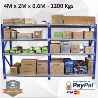 4.0M x 2.0M x 0.6M Heavy Duty Metal Garage Shelving 1200KG