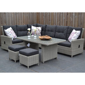 speisegruppe grau polyrattan aluminium tischgruppe sitzgruppe poly rattan garten ebay. Black Bedroom Furniture Sets. Home Design Ideas