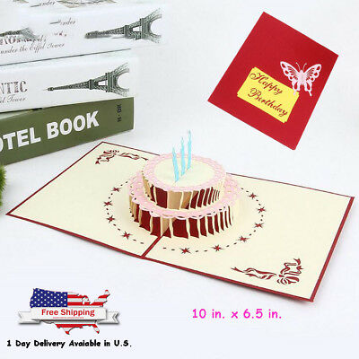 3D Pop Up Greeting Card Happy Birthday Cake Best Wishes Gift for Friends Family (Best Wishes For Friends)