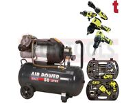 SEALEY SAC5030VE 50L AIR COMPRESSOR DIRECT DRIVE 3HP + 83431 STORM FORCE 68 PIECE AIR TOOL KIT