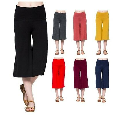 Shop Lisa Women Clothing Flair Knit Capri High Waist Gaucho Lounge Cropped Pants