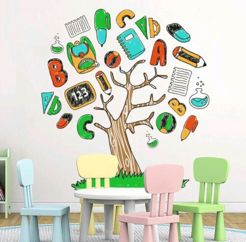 cartoon alphabet stationery tree wall stickers removable