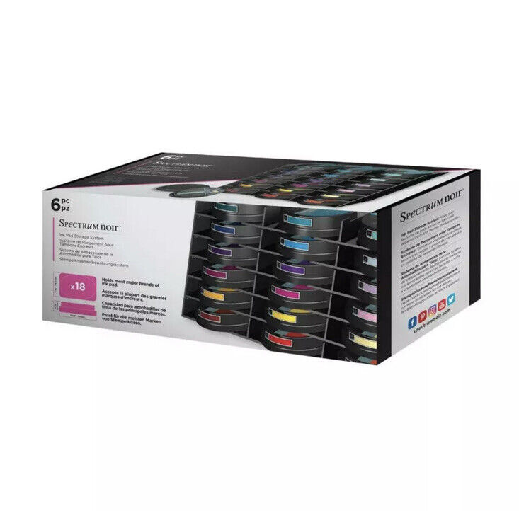 Spectrum Noir Ink Pad Storage System Crafters Companion 6 Trays Hold 18 Ink Pads