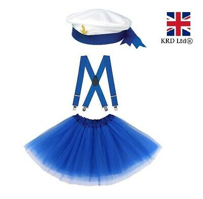 SAILOR FANCY DRESS COSTUME Retro Navy Outfit Kids Ladies Sea Hen Party Dress UK