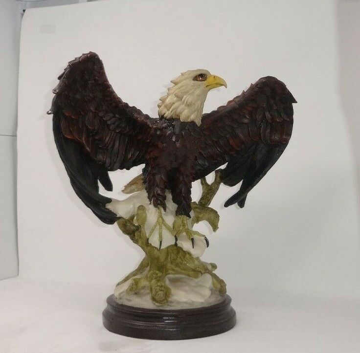 American Bald Eagle Resin Statue Landing On A Tree