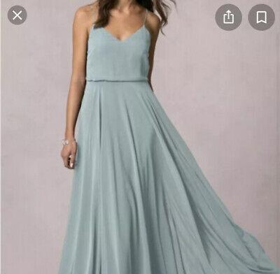 Jenny Yoo Inesse Maxi Bridesmaid Ciel Blue Green Teal Chiffon Dress UK 12 US 8