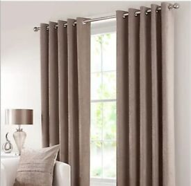 Pair of Chenille Mink Eyelet Curtains