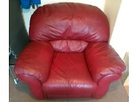 LARGE RED COMFY ARMCHAIR