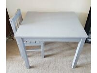 Children's Grey Wooden Desk and Chair