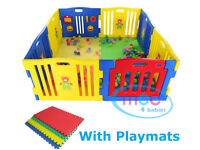 Baby playpen with 8 panels and 4 play mats