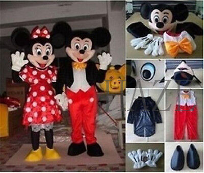 Mickey And Minnie Mouse Adult Costumes (Mickey and Minnie Mouse Adult Mascot Costume Party Clothing Fancy Dress Mascot)