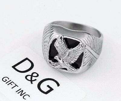 DG Men's Silver Stainless Steel Black Onyx EAGLE Ring Size;8.9,10,11,12,13 + Box Onyx Eagle Ring