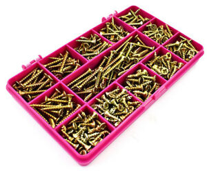 380 ASSORTED 3.5mm TIMCO SOLO YELLOW WOOD SCREW POZI COUNTERSUNK WOODSCREWS KIT