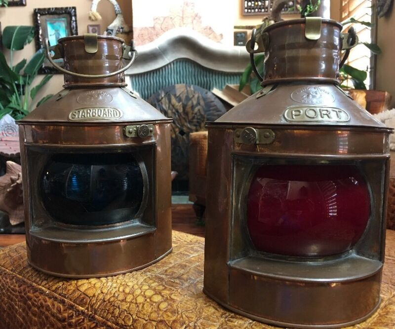 Vintage Tung Woo Hong Kong Nautical Oil Lamps Copper Lanterns Starboard & Port
