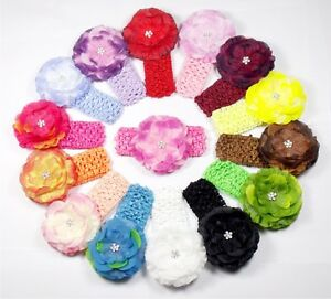 3-5-15-LOT-Silk-and-Chiffon-Baby-Flower-Crystal-Center-Hair-Clip-Bow-FZH-U-Pick