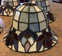 Stained glass shades for pendant or chandelier type fixture