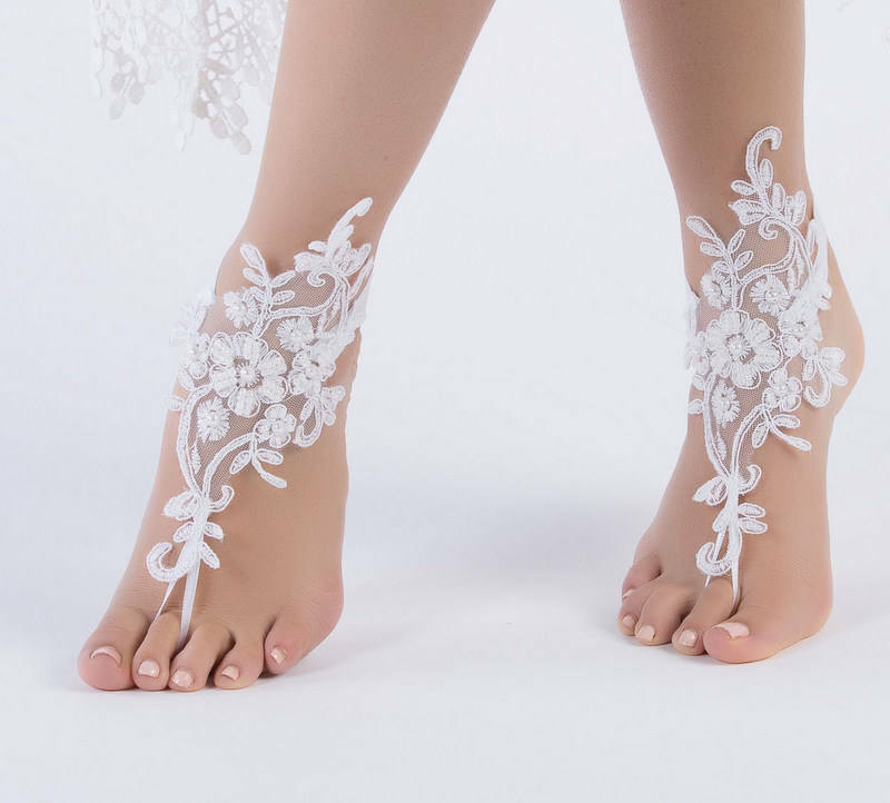 386e971d5e6 Details about Wedding Foot Chain White Barefoot Sandals Beach Anklet  Jewelry Wedding Shoe Lace