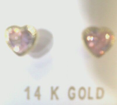 14K Yellow Gold 3mm Stone Finish Heart Bezel Pink CZ Screw Back Stud Earrings