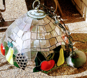 Vintage Stained Glass Chandelier
