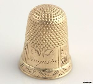 Vintage Thimble - 14k Yellow Gold Polished Sewing Estate Filigree Engrave Finger