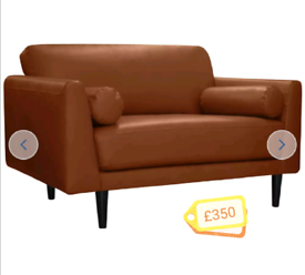 MASSIVE CLEARANCE!! Leather cuddle chair. Tan. Was £550.00