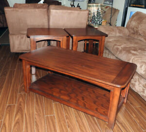 Wood Coffee Table and Two End Tables for Sale.