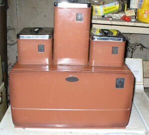 1960s/70s breadbox and canisters sat,brown metal