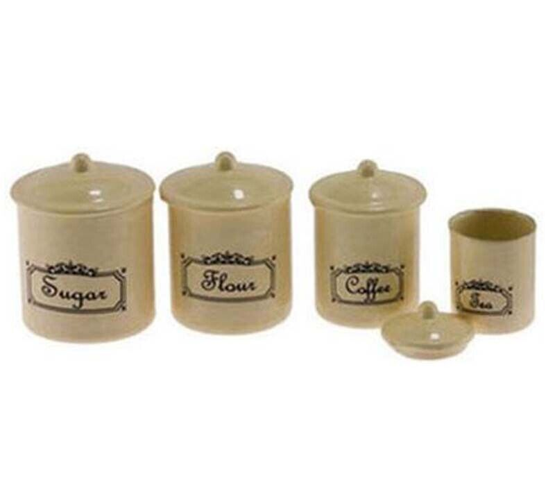 """Dollhouse Miniature 4 Piece Kitchen Canister Set in an Ivory """"Vintage Look"""""""