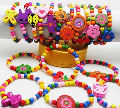 Wholesale 10pcs Kids Wood Lovely Bracelets Birthday Party Gift Favor Jewelry lot