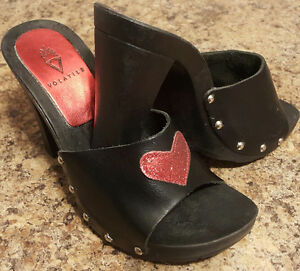 Vintage Mules with Red Sparkle Heart