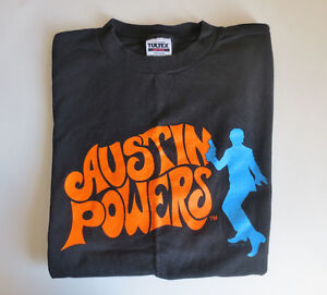 Austin Powers Men's XL Black T-Shirt 100% Preshrunk Cotton NEW