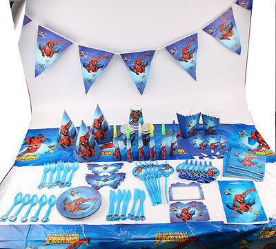 Spiderman Kids Theme Birthday Party Decor Supplier Boys Favor Tableware Banner