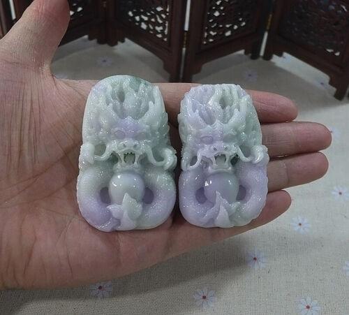 Vintage Natural Type A Lavender Jadeite Jade Vivid Dragon Pair Pendant