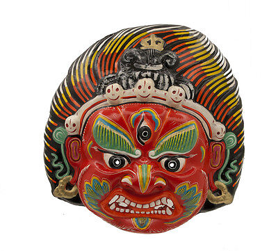 Mask Hat and Mitten Set Jwala Bhairab Indra Jatra Festival Nepal Paper Mache