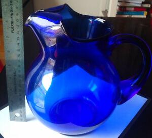 Vintage Hand Blown Round COBALT BLUE Large Water Pitcher 1.5 QT