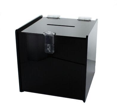 Black Deluxe Tip Jar Acrylic Donation Box Ballot Suggestion W/ Lock 6
